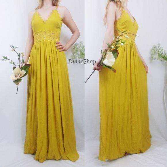 1f96dfb87001 Lulu's Dresses & Skirts - This is Love Mustard Yellow Lace Maxi Dress XS